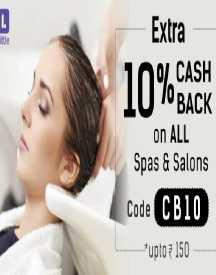 Flat 10% Cashback On Spa & Salon Deals