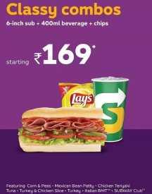 Classic Combo Offer: 6-inch Sub + 400ml Beverage + Chips @ Rs 169
