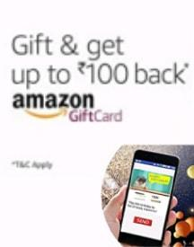 Amazon Gift Cards: Upto Rs 100 Cashback