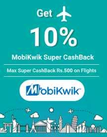 Get 10% Super CashBack with MobiKwik on Flights