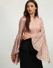 Rose Bethany Lace Bell Sleeve Top
