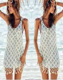 CORCHET BEACH COVER-UP WITH TASSELS