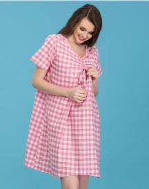 Cotton Checked Maternity Shot Nighty