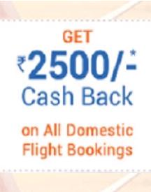 Get Up to Rs 2,500 Cashback on Domestic Flight bookings!