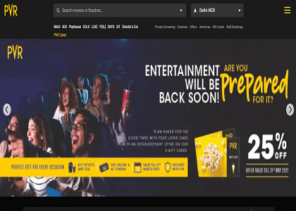PVR Cinemas Promo Codes | Coupons | Offers